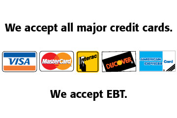 we accept all major credit cards and EBT